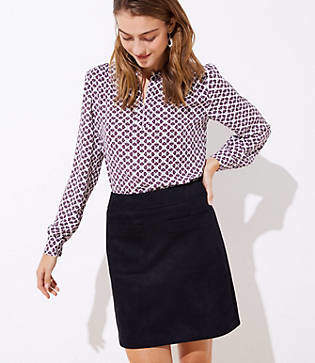 LOFT Faux Suede Pocket Shift Skirt