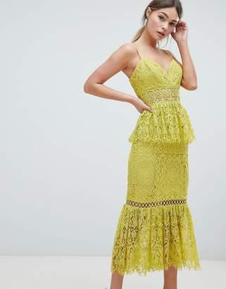 Asos Design DESIGN Peplum Hem Lace Pencil Dress With Delicate Trim
