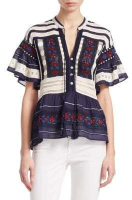 Sea Printed Embroidered Blouse