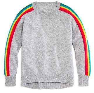 Aqua Girls' Rainbow-Striped Cashmere Sweater, Big Kid - 100% Exclusive