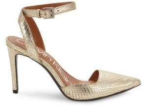 """Calvin Klein Embossed Leather Ankle-Strap Pumps/3.5"""""""