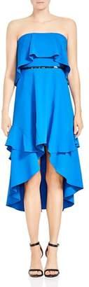 Halston Strapless High/Low Dress