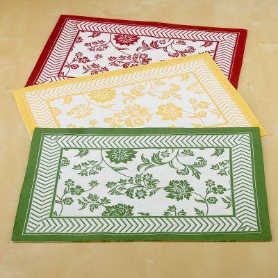 Herringbone-Border Floral Placemats Set of 4