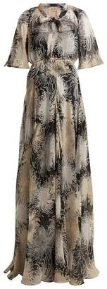 No.21 No. 21 - Chrysanthemum Print Silk Chiffon Maxi Dress - Womens - Black Multi