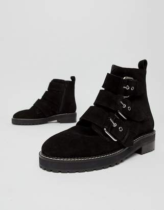 Office Artillery chunky black suede three buckle boots