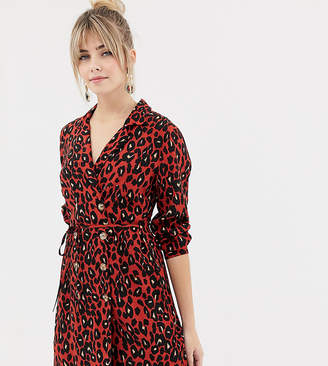 New Look shirt dress with double breasted buttons in leopard print