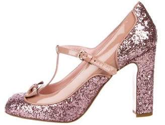 RED Valentino Glitter T-Strap Bow Pumps