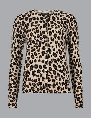 AutographMarks and Spencer Pure Cashmere Animal Print Cardigan