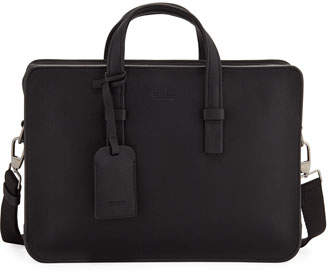 Giorgio Armani Men's Tumbled Calf Leather Briefcase, Black