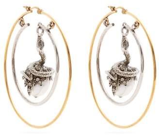 Alexander McQueen Faux Pearl Drop Hoop Earrings - Womens - Gold