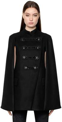 Pierre Balmain Embellished Military Wool Cape
