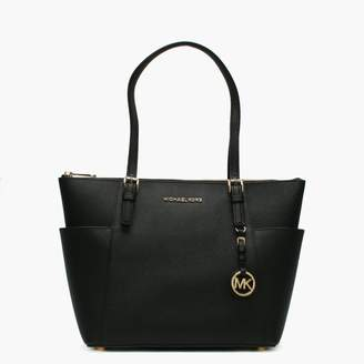 Michael Kors Jet Set Pocket Black Leather Top Zip Tote Bag