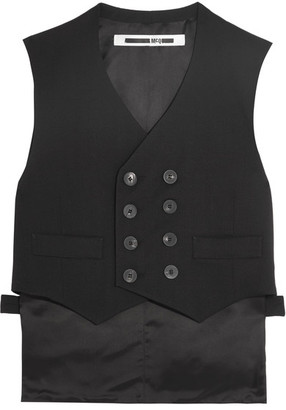 McQ Alexander McQueen - Double-breasted Stretch-wool Crepe And Satin Vest - Black $480 thestylecure.com