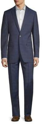 Calvin Klein Plaid Slim-Fit Wool Suit
