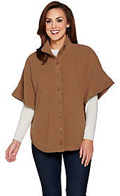 Denim & Co. Fleece Stand Collar Button Front