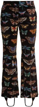 Gucci Butterfly-print stretch-cotton velvet trousers