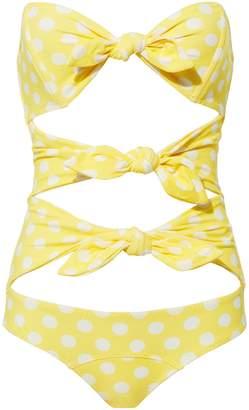 Lisa Marie Fernandez Yellow Polka Dot One Piece Swimsuit