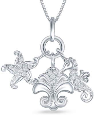 ENCHANTED FINE JEWELRY BY DISNEY Enchanted Disney Fine Jewelry 1/10 C.T. T.W. Diamond Ariel Sea Life Charm Pendant Necklace In Sterling Silver