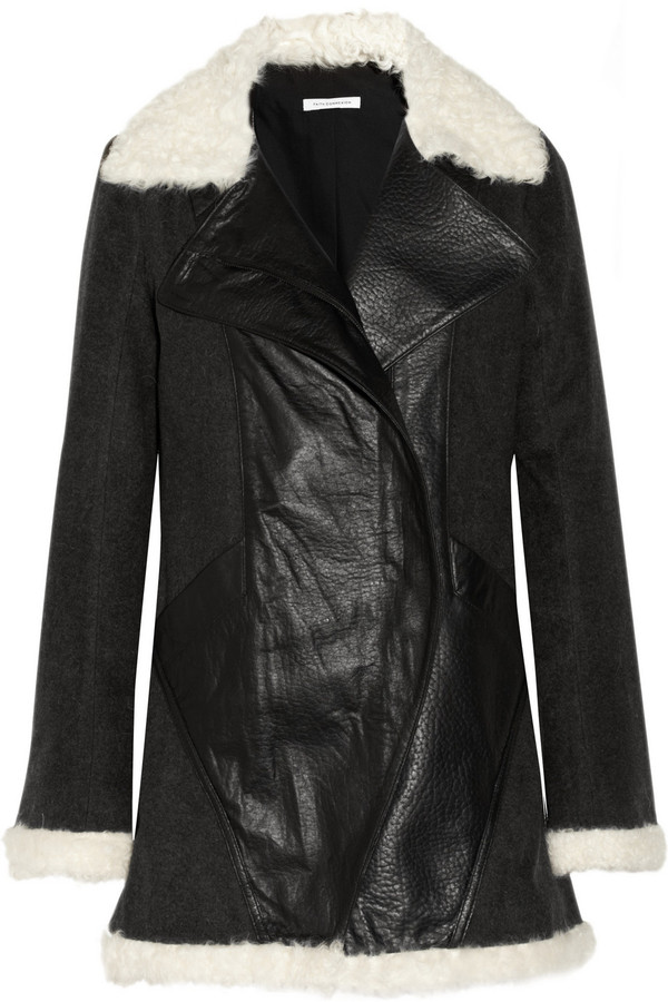 Faith Connexion Bearn shearling-trimmed wool-blend and leather coat