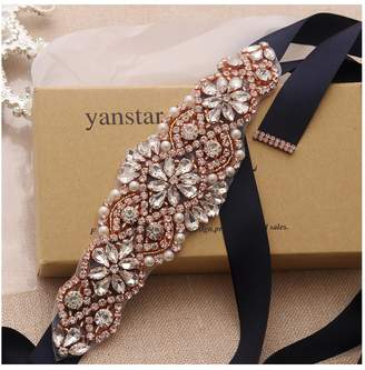 Yanstar Bridal Wedding Belts Navy Sashes Handmade Beads Belt For Bridal Bridesmaid Dresses (silver/navy)