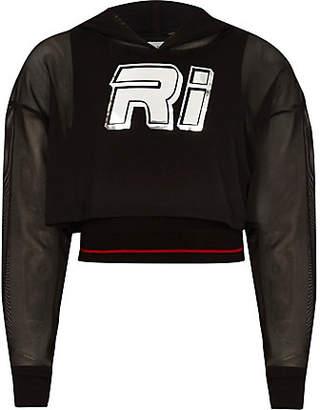 River Island Girls RI mesh cropped hoodie