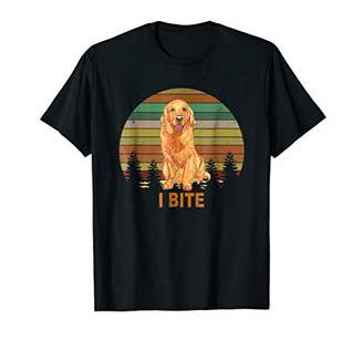 Golden Retriever I Bite Dog Vintage Tshirt for Women Men