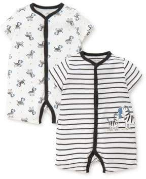 Little Me Baby Boy's Set Of Two Zebra Cotton Rompers