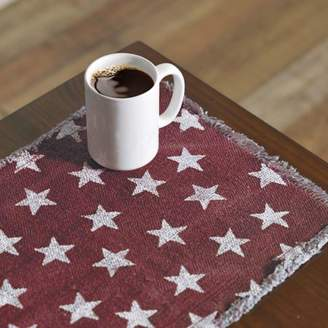 Americana Ashton & Willow Red Tabletop Kitchen Multi Star Cotton Stenciled Casement Star Rectangle 13x36 Runner
