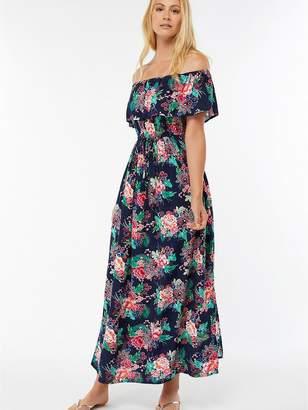 Accessorize Dreamweaver Frill Bardot Maxi Dress - Printed