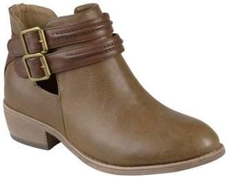 Co Brinley Women's Faux Leather Side Slit Buckle Booties