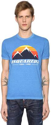 DSQUARED2 Mountain Printed Cotton Jersey T-Shirt