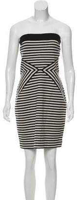L'Agence Striped Strapless Dress