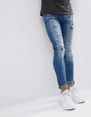 Blend of America Lunar Light Wash Distressed Super Skinny Jeans