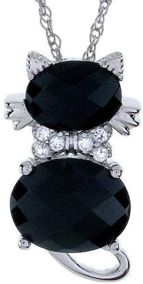 JCPenney FINE JEWELRY Sterling Silver Genuine Black Onyx and White Sapphire Cat Pendant Necklace
