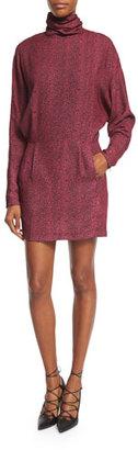 McQ Alexander McQueen Printed Long-Sleeve Turtleneck Dress, Pink $495 thestylecure.com