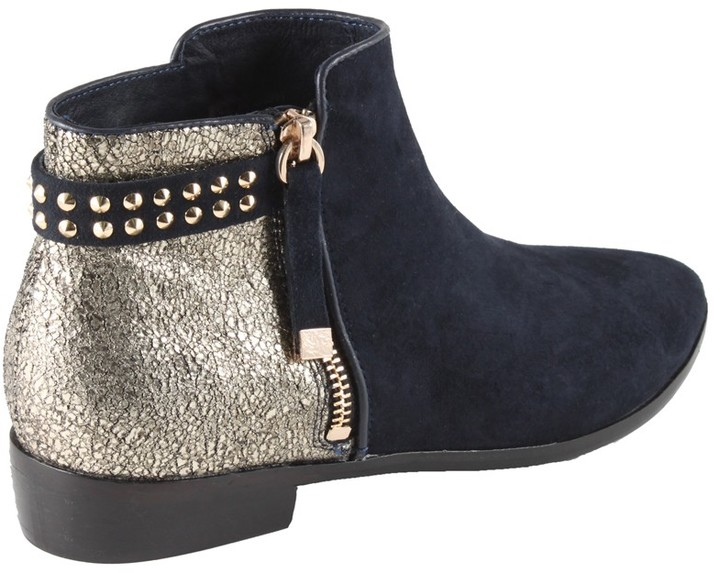 Yosi Samra Kate Two Tone Booties In Midnight and Gold As Seen on Mila Kunis