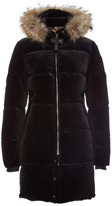 Parajumpers Sindy Velvet Down Parka with Fur-Trimmed Hood