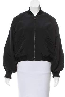 Alexis Ruffle-Accented Bomber Jacket w/ Tags