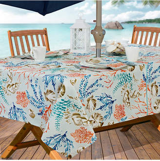 "Elrene Coastal Settings Indoor/Outdoor 60"" x 84"" Umbrella Zip Tablecloth"