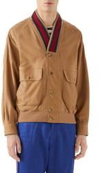 Gucci Web Trim Leather Bomber Jacket