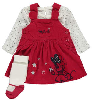 Disney George Minnie Mouse Red Pinafore Dress Top and Tights Outfit