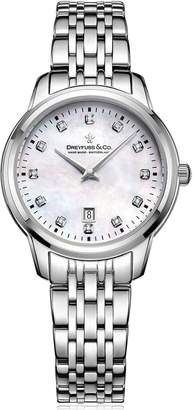 Dreyfuss & Co 1890 Mother of Pearl Dial with Diamond Set Numerals and Stainless Steel Strap Ladies Watch