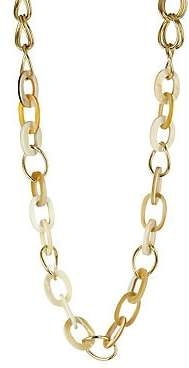 Vila Akola Women's Shaloo Blonde Horn & Goldtone Link Long Chain Necklace
