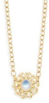Temple St. Clair Royal BM 18K Yellow Gold, Diamond & Blue Moonstone Pendant Necklace