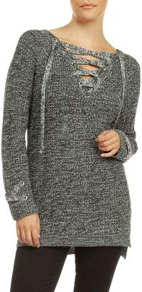 Dex Raglan-Sleeve Lace-Up Sweater