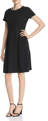 Karl Lagerfeld Paris Faux Pearl-Trimmed A-Line Dress