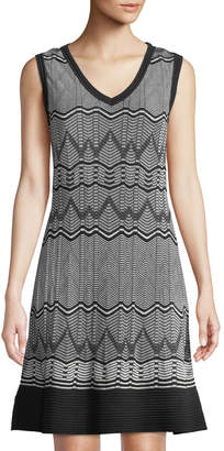 M Missoni Chevron-Striped Short-Sleeve Midi Dress, Black