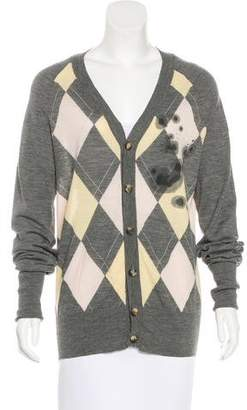 John Galliano Wool Argyle Cardigan