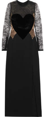 Velvet-appliquéd Lace And Crepe Gown - Black