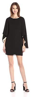 Halston Women's Flowy Sleeve Round Neck Color Blocked Dress